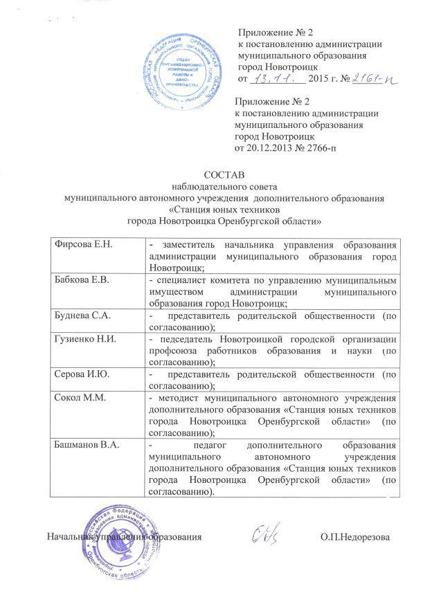 Наблюдательный совет МАУДО СЮТ